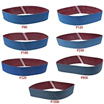 LANDGOO 7 Pack 4x 36 80/120/180/240/320/800/1000 Grit Metal Grinding Aluminium Oxide Sanding Belt Sand Blue