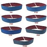 Sanding Belt LANDGOO Sandpaper 4''x 36'' 80/120/180/240/320/800/1000 Grit Metal Grinding Aluminium Oxide Sand Blue 7 Pack