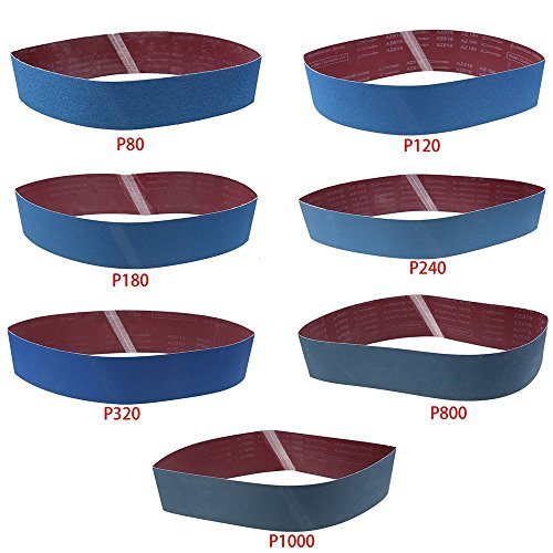 Sanding Belt LANDGOO Sandpaper 4''x 36'' 80/120/180/240/320/800/1000 Grit Metal Grinding Aluminium Oxide Sand Blue 7 Pack by LANDGOO