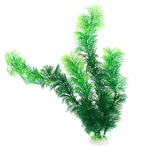 WINOMO 30cm Plastic Plant Emulational Aquatic Leaves Green Underwater Tree with Base for Aquarium Decoration ()