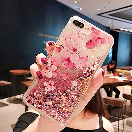 NOKEA Stylish Case Compatible 3D Cute Painted Glitter Liquid Sparkle FloatingLuxury Bling Quicksand Shockproof Protective Silicone Case Cover Replacement for iPhone 8 Plus/7 Plus-Peach Blossom
