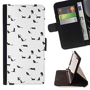 For Sony Xperia Style T3 Case , Gatos Perros Pequeños Animales Dibujo blanco lindo- la tarjeta de Crédito Slots PU Funda de cuero Monedero caso cubierta de piel