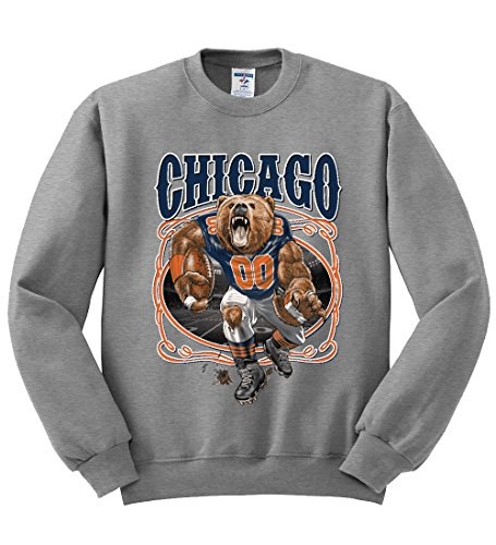- Chicago Fan | CHI Fantasy Football | Mens Sports Crewneck Graphic Sweatshirt, Heather Grey, 2XL