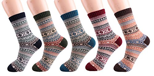 Vintage Style Fall Winter Christmas Crew Socks for Men and Women 5 pairs (Mixed Color 2) (Fall Style Men)