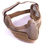 H World Shopping Paintball Tactical Airsoft Outdoor Army Steel Wire Mesh Half Face Protective Mask with Ear Cover DE Tan