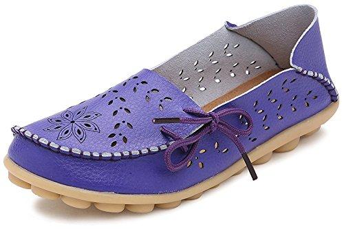 Fangsto Dames Bloemen Lederen Slipper Loafers Platte Schoenen Slip-ons Sty-2 Paars