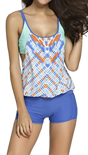 Anmengte Women Stripes Tankini Lined up Bathing Suit Double Up Swimwear Sets (XL, Printed-Blue)