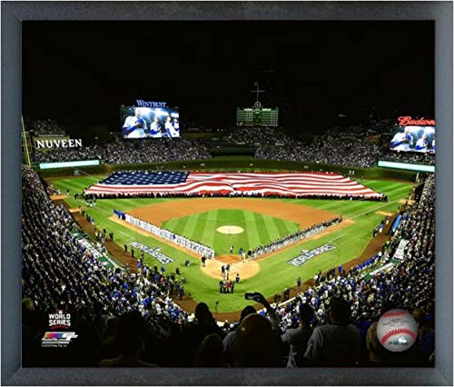 Wrigley Field Framed Pictures - Wrigley Field Chicago Cubs 2016 World Series Game 3 Photo (Size: 17