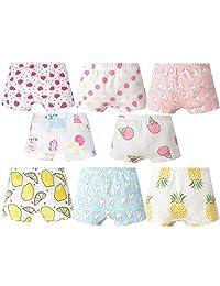 XNN Soft Cotton Baby Toddler Underwear Little Girls' Assorted Boxer Briefs(Pack of 8)