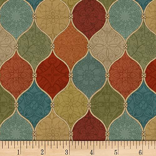 David Mosaic - David Textiles Spice Mosaic Ruby/Multi Fabric Fabric by the Yard