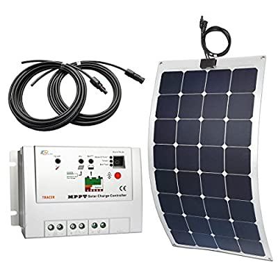 Lensun 100W 12V Semi-Flexible Monocrystalline Solar Panel Kit with 10A PWM or 10A MPPT Solar Charge Controller and Two 5m Cables with MC4 Connetors for 12V Charge Battery