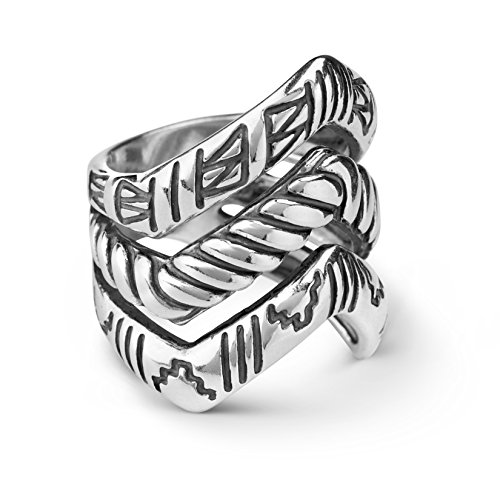 American West Sterling Silver Chevron Triple Row Ring