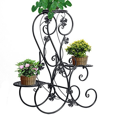 ZHCH 3-tier Elegant Classical Design Plant Stand with 3 Holders Potted Plant Rack (Black)