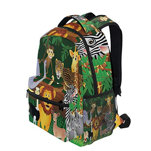 KVMV Animals in The Jungle Funny Expressions Exotic Comic Cheer Natural Habitat Lightweight School Backpack Students College Bag Travel Hiking Camping - Habitat Backpack Nylon
