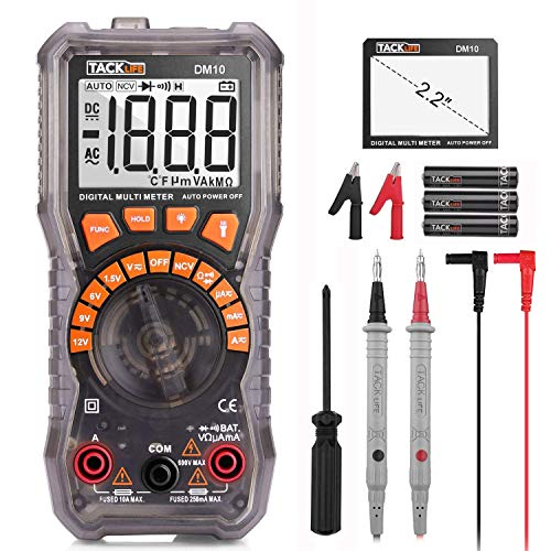 "Digital Multimeter Electrical Tester 2000 Counts TRMS Auto-Ranging Amp Volt Ohm Meter Diode and Continuity Tester AC/DC Voltage/Current Detector with 2.2"" LCD Display,Backlight and NCV Function-DM10"