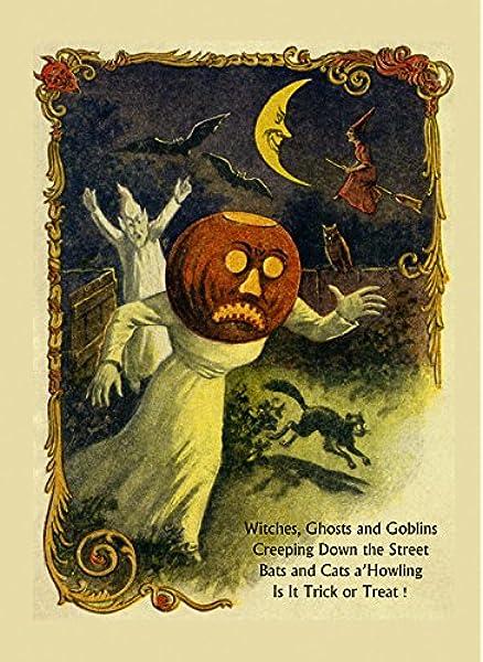Saturday Night Supper Black Cat Halloween Witch Pumpkin Wall Art Print