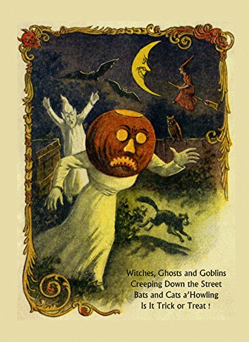 American Halloween Ghost Black Cat Witch Bat Trick or Treat Vintage Poster Repro 12