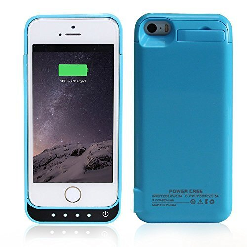 iPhone 5/5C/5S/SE Battery Case, SinoPro Portable Slim Extended Battery Case Mobile Protective Charging Case with 4200mAh Capacity Kick Stand LED Indicator for iPhone 5/5C/5S/SE (Blue)