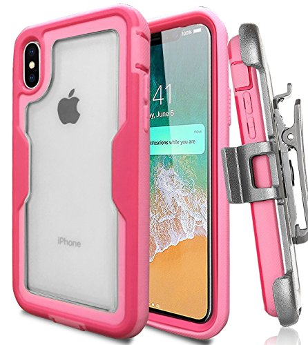 iPhone X Case, Jwest iPhone X Case with Built In [Screen Protector] Full body Heavy Duty Protection Shock Reduction Clear Case and Belt Clip Holster Kickstand - (Clear Pink Belt Clip)