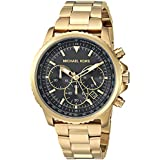 Michael Kors Men's Theroux Analog-Quartz Watch with Stainless-Steel-Plated Strap, Gold, 18 (Model: MK8642)