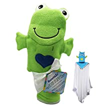 Green Frog with Blue Heart Bunchkin Puppet Towel