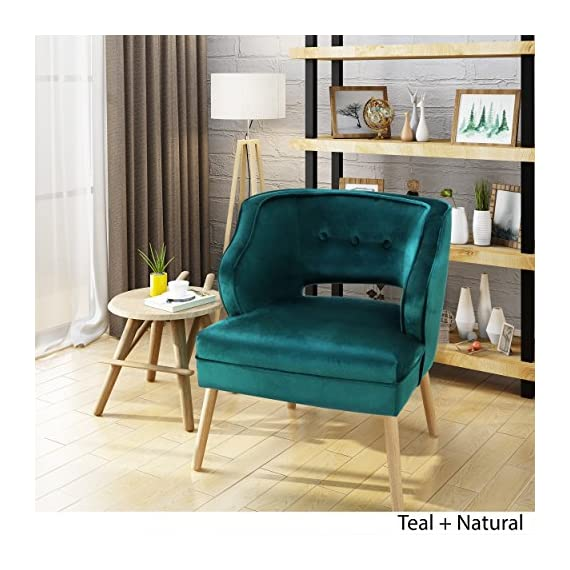 Christopher Knight Home Mariposa Mid-Century Velvet Accent Chair, Teal / Natural -  - living-room-furniture, living-room, accent-chairs - 519werkbD%2BL. SS570  -
