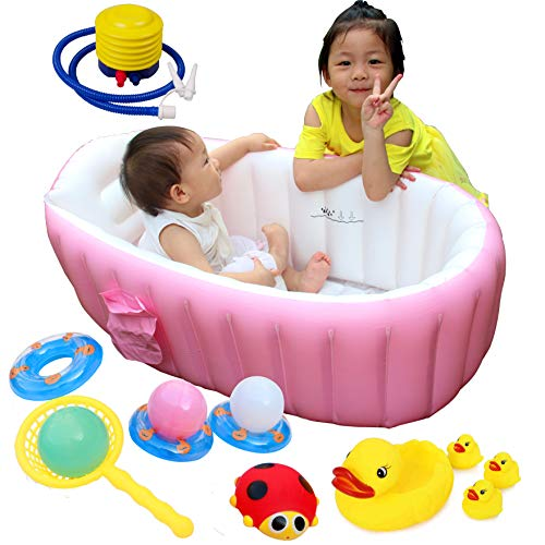 Inflatable Baby Bathtub, Air Bath Basin Non Slip Bathing Tub Portable Foldable Shower Basin Pool with Plastic Bellows Foot Pump and Baby Bath Toy for Kids