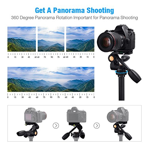 3-Way Tripod Head, Powerextra Three-Dimensional Aluminum Alloy Fluid Head with Quick Release Plate, 360 Degrees Free Rotation for Tripod, Monopod, Camera Slider and All DSLR Cameras