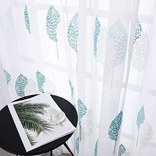 MRTREES Sheer Leaf Embroidered Curtains 63 inches Length Aqua Blue Leaves Embroidery on White Rod Pocket Voile Panels,Designed Kitchen Kids Room Bedroom Living Room,54 x 63 Inch Length, 2 Panels ()