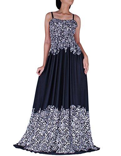 The WomenLand Women Maxi Long Black & White B&W Party Dress Plus Size Summer Strapy Casual Evening Wear Rose Prints - Size Wedding Dress Plus Informal