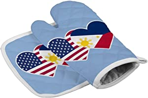 American Philippines Flag Heart Graphic Oven Gloves Microwave Gloves Barbecue Gloves Kitchen Cooking Bake Heat Resistant Gloves Combination