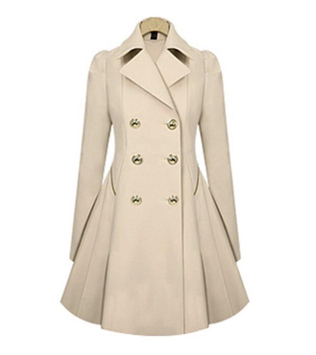 H&N Women Elegant Long Trench Coat Jacket HN Women Double Breasted Pea Overcoat (XXL, Beige)