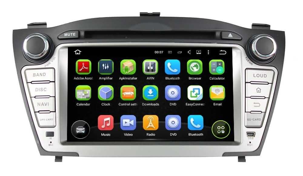 2 Din 7 pouces Android 5.1.1 Lollipop stéréo de voiture pour Hyundai IX35 / Tucson 2009 2010 2011 2012 2013 2014,DAB+ radio 1024x600 écran tactile capacitif avec Quad Core Cortex A9 1.6G CPU 16G flash et