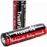 TrustFire 14500 900mAh リチウムイオン充電池 , Li-ion 充電池 PCB回路搭載, 電池ケース付属 ボタントップ【14500 900mAh 2本】