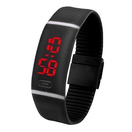 Sannysis® Deportes LED corriente roja pulsera de reloj; Digital reloj de pulsera (Negro