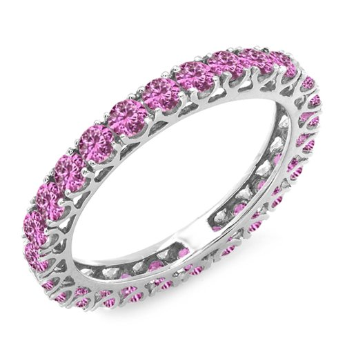 - Dazzlingrock Collection 1.80 Carat (ctw) 14K Round Pink Sapphire Ladies Eternity Wedding Band 1 3/4 CT, White Gold, Size 6