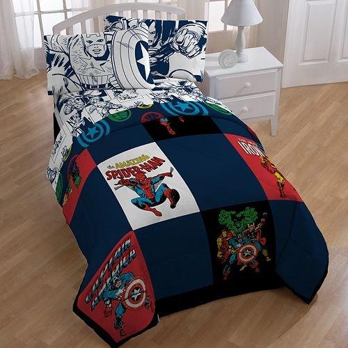 Marvel Comic Heroes 5 Piece Kids Twin Bedding Set - Reversible Comforter