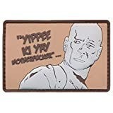 "[Single Count] Custom and Unique (2.5'' x 3'') Rectangle ""Funny Comedy"" John Mcclane Die Hard Movie ''Yippie Ki Yay'' Embroidered Applique Patch {Brown, White, & Black Colors} [Licensed]"