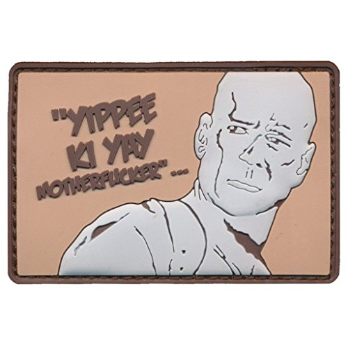"[Single Count] Custom and Unique (2.5'' x 3'') Rectangle ""Funny Comedy"" John Mcclane Die Hard Movie ''Yippie Ki Yay'' Embroidered Applique Patch {Brown, White, & Black Colors} [Licensed] by Patch Squad USA"