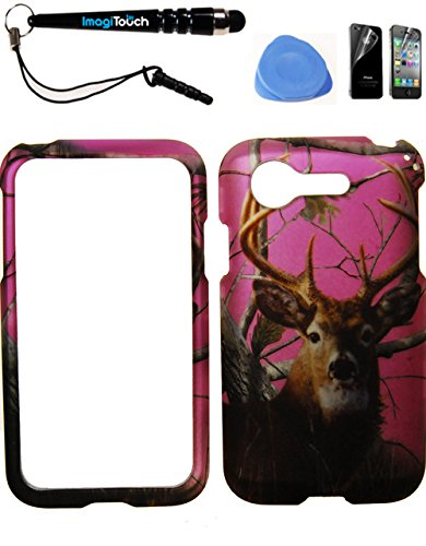IMAGITOUCH ® LG Optimus Zone 2 Fuel L34C VS415PP (Verizon Prepaid) Rubberized 2D Design Case Cover Protector Hot Pink Buck Deer Pine Tree Hunter Camo Camouflage 4-Item Combo: Phone Cover, Screen Protector, Stylus Pen, Pry Tool (Lg Optimus Fuel Prepaid Phone compare prices)