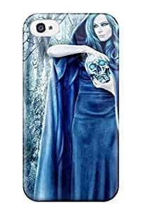 Yeszejg6398AiQEf Tpu Phone Case With Fashionable Look For Iphone 4/4s - Lady With The Skull