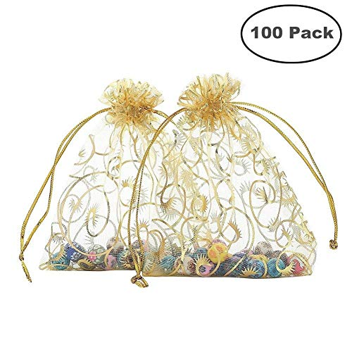 Happy Wrappers - Foxnovo Organza Drawstring Gift Bags (100Pcs-Golden)