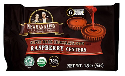 Newman's Own Organics - Super Dark Chocolate Cups with Raspberry Centers - 1.9 oz (pack of 2)
