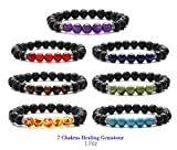 7 Chakras Stretch Bracelet J.Fee Healing Gemstone 7 Pack Jewelry Set Oil Diffuser Bracelet Beaded Crystal Bracelet Yoga Mala Lava Stone Bracelet Christmas Birthday Anniversary Gifts for Women Men Boy