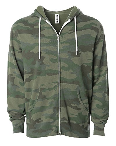 Global Slim Fit Lightweight Zip Up Hoodie for Men and Women Small Camouflage