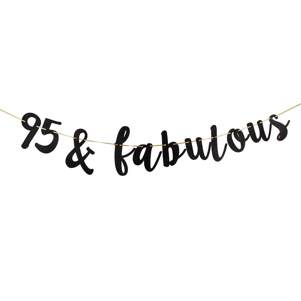 95 /& Fabulous Banner Black Glitter 95th Birthday Party Decoration Sign
