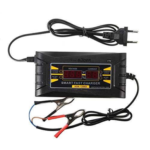 Digital Lcd 12V 6A Smart Pwm Lead Acid Battery Charger Cable