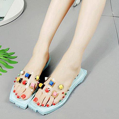 Flat Anti Designer Forme extérieure Mode Plate Bleu Slip Coloré Femmes Sandales Clear Chaussures Sandales JITIAN Square Toe qT4OCtnW