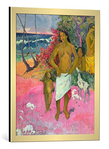 kunst für alle Framed Art Print: Paul Gauguin A Walk by The Sea or Tahitian Family 1902