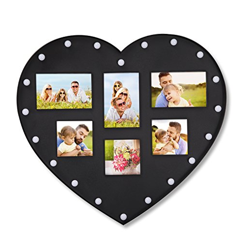 DecentHome Black 6-Opening Plastic Picture Collage Frame With LED light HEART